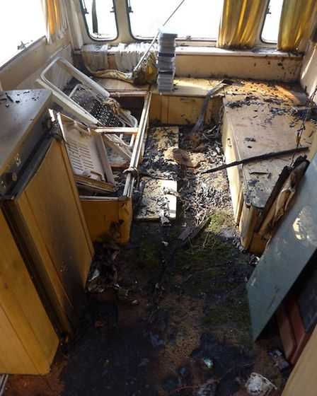 Inside one of the caravans that was set alight.