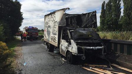 Van catches fire in South Brink, Wisbech.