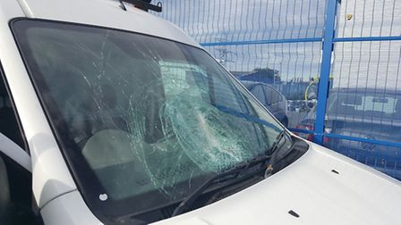 The windscreen of a Ford Transit van was smashed after an object was thrown onto the A47 on Monday (