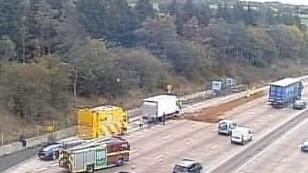 Two lanes have been closed on the M25 near Potters Bar following a fuel spill. Picture credit: Highw