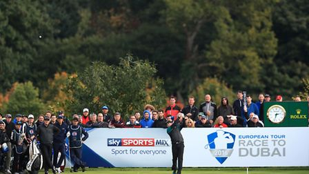 England's Tom Lewis tees off on the 18th hole during day one of The British Masters at The Grove. Ph