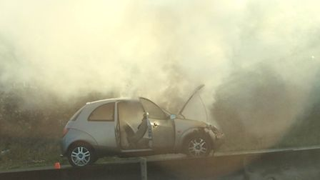 The car fire on the A1(M) causing delays near Welwyn Garden City and Hatfield