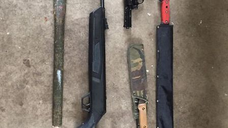 Guns and weapons recovered by police at Prospect Place, Wisbech.