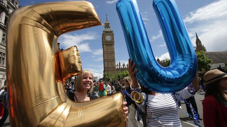 Remain supporters demonstrate in Parliament Square. (Daniel Leal-Olivas/PA).