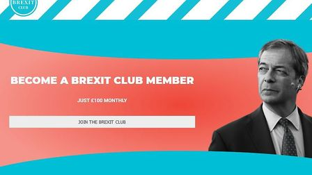 The Brexit Party has launched a club that costs £100 a month to join. Picture: Brexit Party