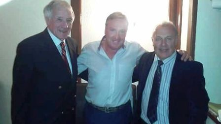 Former Wisbech Town managers Bill Clarkson and Roy McManus and Steve Daley (centre).