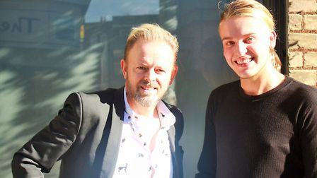 Paul Davies, salon owner, and Robbie Marsh outside Top To Toe.