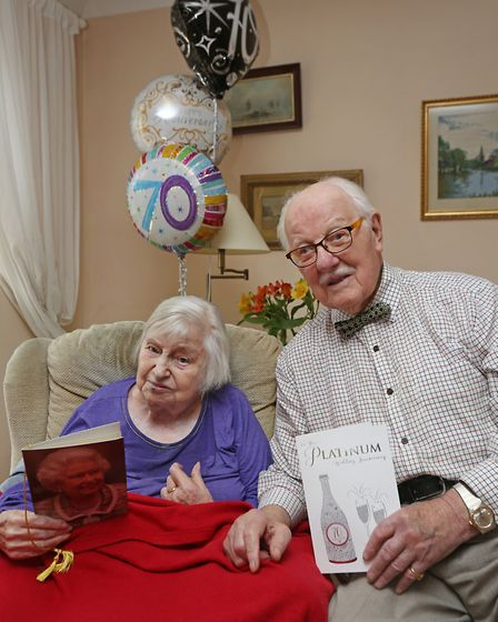 Kathleen and Laurence Pyle celebrate their 70th wedding anniversary together.