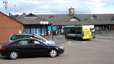 The Horsefair taxi rank and bus station in Wisbech