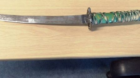 Police officers seized a samurai sword from a man in Wisbech town centre today.