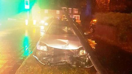 Car crashes into telephone line in Lynn Road, Wisbech.
