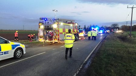 Woman hospitalised after a crash on the A1101, Sutton Road.