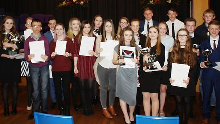 Marshland High School students with their awards and trophies.