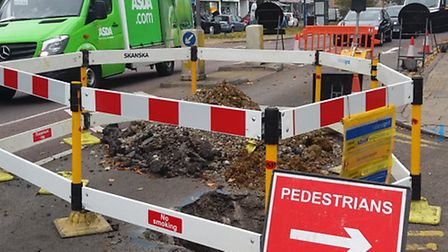 The roadworks in High Street, Potters Bar