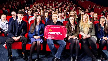 Kenneth Branagh, centre, with his Into Film Festival ticket