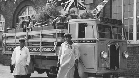 From around 1935, an Elgoods delivery lorry with L Lewin and E Elfeet