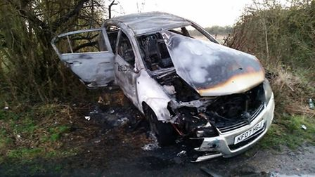 Burnt out car, New Drove, Wisbech