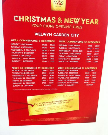 Christmas shopping hours for M&S in The Howard Centre, Welwyn Garden City