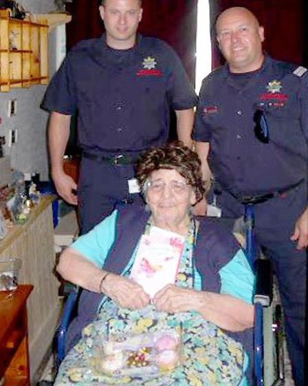 Wisbech firefighters visit Pearl Youngman.