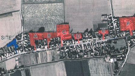 Aerial photo used by John Buckle showing extent of development in part of Leverington. He used the p