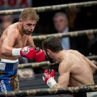 Billy Joe Saunders (left) fights Artur Akavov for The WBO Middleweight Championship of the World at