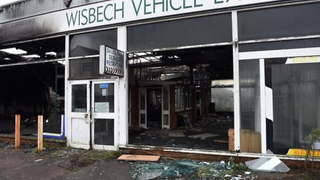 Morning after....photo shows the extent of the damage to former Wisbech Vehicle Exchange premises in