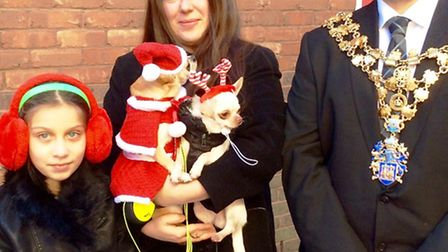 Toffi, the Best Dressed Christmas Dog in Wisbech, with her owner Gabriele and the Mayor Of Wisbech,