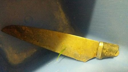 The knife found by litter pickers in Wisbech.