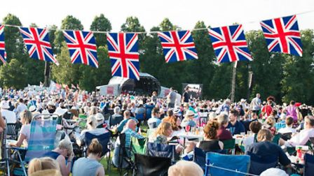 Bunting and crowds at the Battle Proms