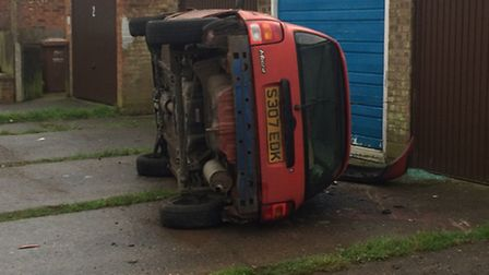 Youngsters abandoned this car after a spectacular crash in Haley Close, Wisbech