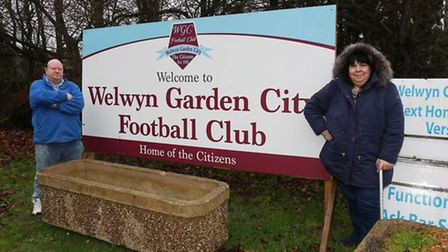 Welwyn Garden City FC chairman Olly Croft and club secretary Karen Fisher by the sign which the coun