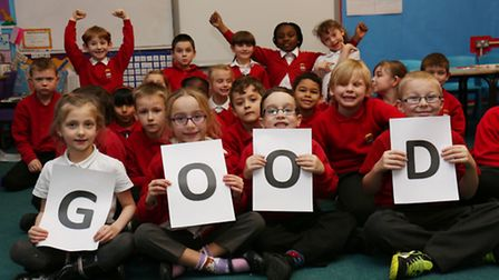 Holwell Primary School foxes class celebrate maintaining their Ofsted 'Good' rating.