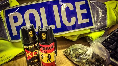 Police discovered CS spray and cannabis while carrying out a house search in Wisbech today (January