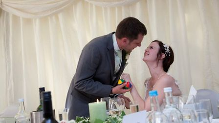 Laura Borrell and Philip on their wedding day. Picture: Talk to the Press.