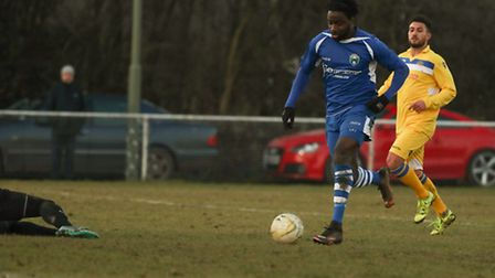 Dave Parkinson in action for London Colney on Saturday against Broxbourne Borough. Picture by Mark L