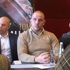 Tom Little (centre) at Dovebox Productions' press conference in London ahead of their February 11 sh