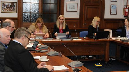 Committee chairman Sam Hoy at a conduct committee hearing at Fenland Hall, March, on February 7. The
