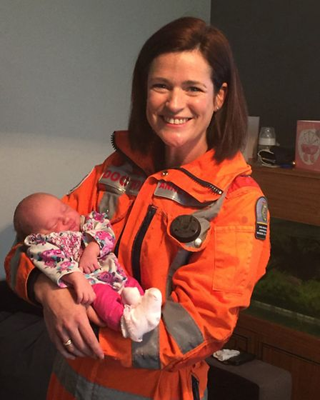 Magpas Air Ambulance Dr Anne Booth meeting former patient Baby Daphne-Louise for the first time sinc