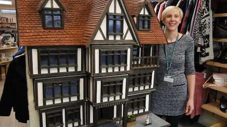 Isabel Hospice's Wendy Harper with the dolls' house