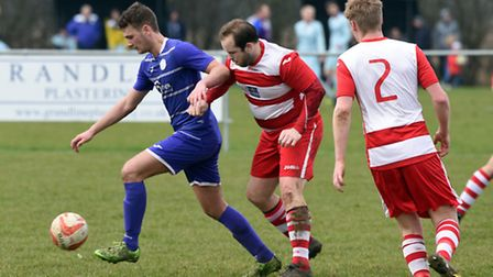 Action from Wisbech St Mary's 4-2 defeat to Red Lodge in the Kershaw Senior B Division. PHOTO: Ian C