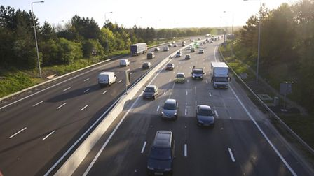 The M25 is badly congested near Potters Bar.