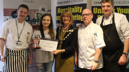 From left: Head Oaklands chef Martin West, competition winner Sophia Lotinga, St Albans mayor France