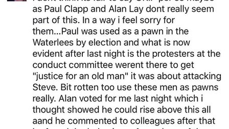 This was the public comment by Cllr Sam Hoy that angered Cllr Alan Lay. He demanded a retraction and