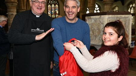 Bishop of Ely Stephen Conway, Steve Barclay MP and Freya Barnes at the Lent Lunch.
