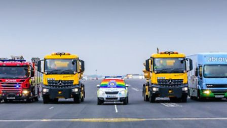 A rainbow of multi-coloured public service vehicles from across Cambridgeshire and Peterborough show