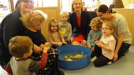 Ducklings were very much the star attraction during a recent visit by Elizabeth Truss MP to Emneth N