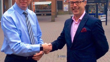 Kevin Smith, who has been centre manager of the Horsefair for 12 years, welcomes his replacement, Da