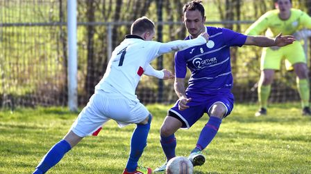 Tom Chilton, pictured here in action against Haverhill Borough, netted one of Wisbech St Mary's two