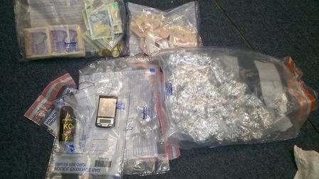 Cannabis, cash and the pepper spray seized in Wisbech. Picture: Cambridgeshire Constabulary