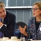 Steve Barclay MP at the modern slavery summit at Wisbech with MP Sarah Newton – the minister for vul